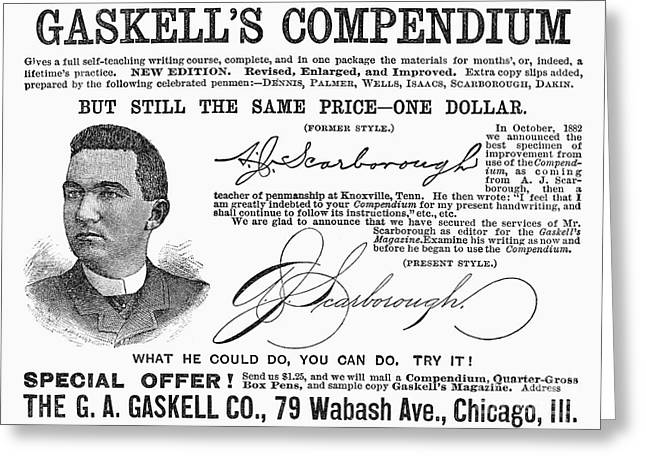 Autograph Greeting Cards - Penmanship Ad, 1887 Greeting Card by Granger