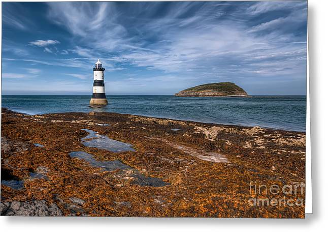 Sea Shore Greeting Cards - Penmon Lighthouse Greeting Card by Adrian Evans