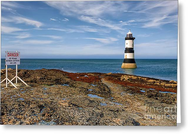 Puffins Greeting Cards - Penmon Point Lighthouse Greeting Card by Adrian Evans