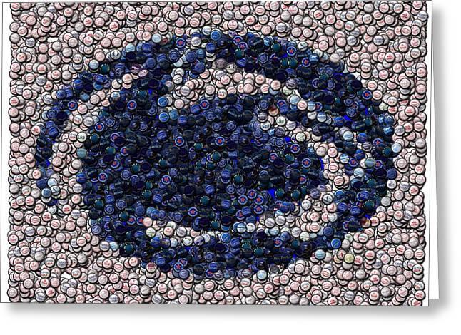 Nittany Digital Art Greeting Cards - Penn State Bottle Cap Mosaic Greeting Card by Paul Van Scott