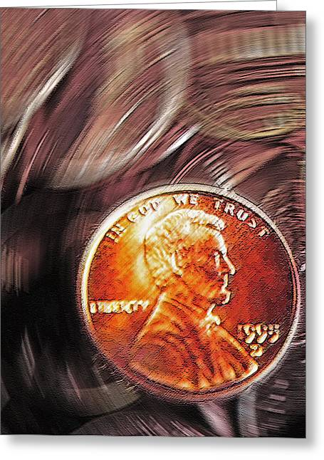 Earnings Mixed Media Greeting Cards - Pennies Abstract 2 Greeting Card by Steve Ohlsen
