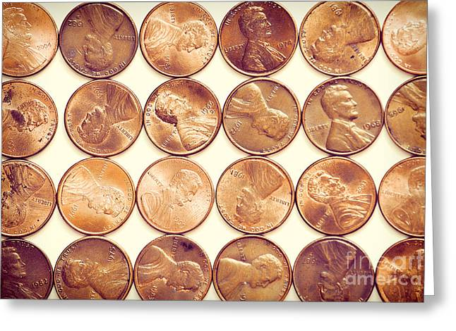 Penny Greeting Cards - Pennies Greeting Card by HD Connelly