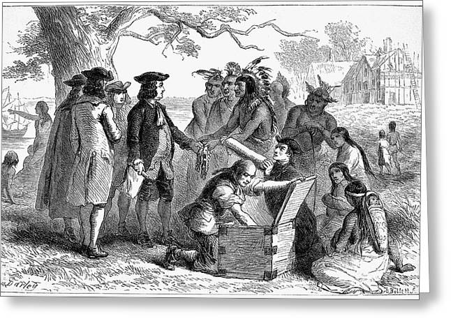 Reformer Greeting Cards - Penns Treaty With Native Americans Greeting Card by Granger