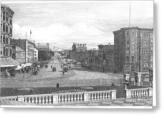 1880s Greeting Cards - PENNSYLVANIA AVENUE, c1890 Greeting Card by Granger