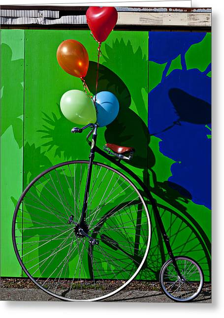 Handlebar Greeting Cards - Penny Farthing and Balloons Greeting Card by Garry Gay