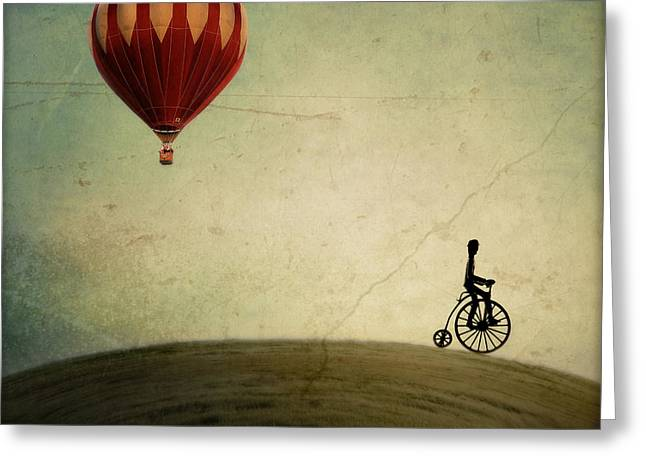 """hot Air Balloon"" Greeting Cards - Penny Farthing for Your Thoughts Greeting Card by Irene Suchocki"