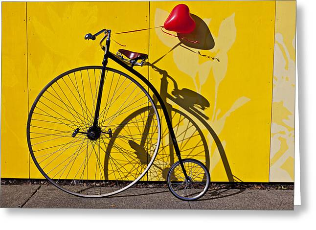 Spokes Greeting Cards - Penny Farthing Love Greeting Card by Garry Gay