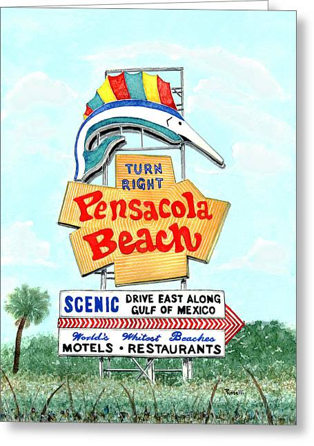 Pensacola Beach Greeting Cards - Pensacola Beach Sign Greeting Card by Richard Roselli