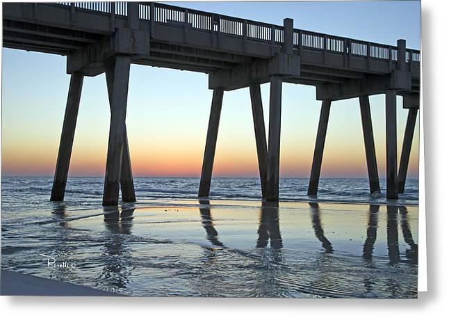 Pensacola Pier at Sunrise 3 Greeting Card by Richard Roselli