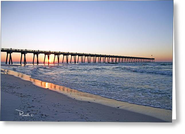 Pensacola Pier at Sunrise 5 Greeting Card by Richard Roselli
