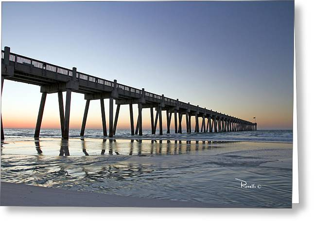 Pensacola Beach Greeting Cards - Pensacola Pier at Sunrise Greeting Card by Richard Roselli