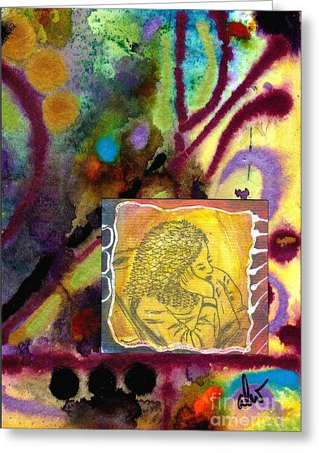 African-americans Greeting Cards - Pensive Greeting Card by Angela L Walker
