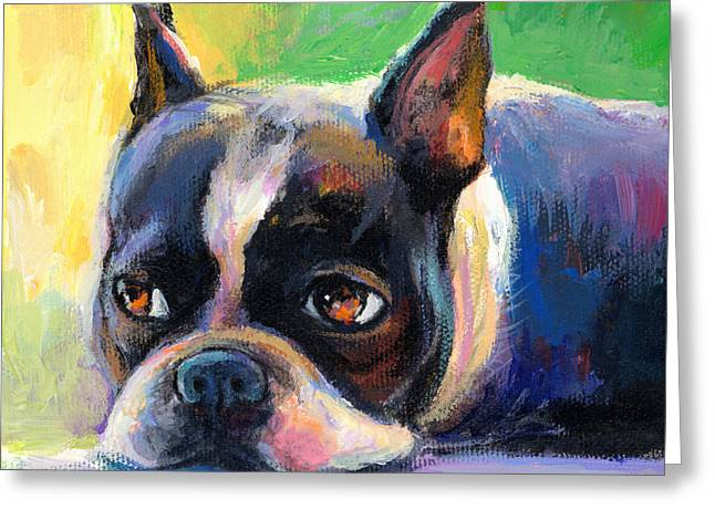 Whimsical Dog Art Greeting Cards - Pensive Boston Terrier dog painting Greeting Card by Svetlana Novikova