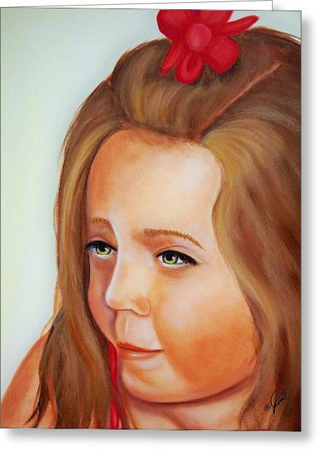 Girls Greeting Cards - Pensive Lass Greeting Card by Joni McPherson