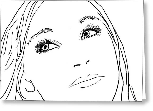 Pensive Drawings Greeting Cards - Pensive Greeting Card by Methune Hively