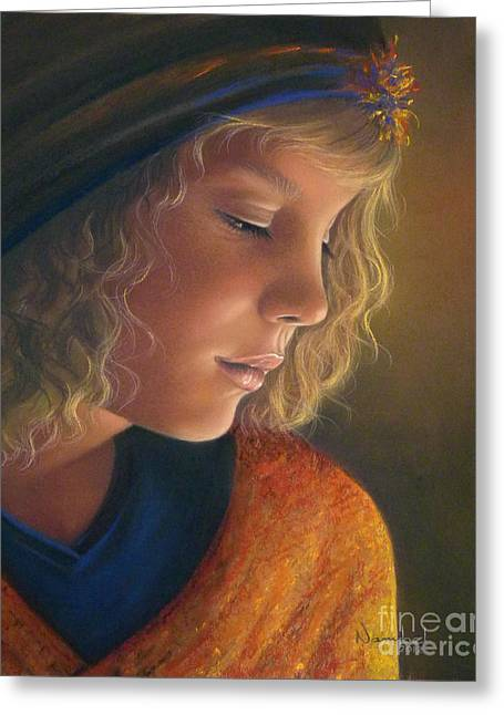 Commissions Pastels Greeting Cards - Pensive Natalia Greeting Card by Nanybel Salazar