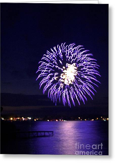 Purple Fireworks Greeting Cards - Pensive Purple Greeting Card by The Stone Age