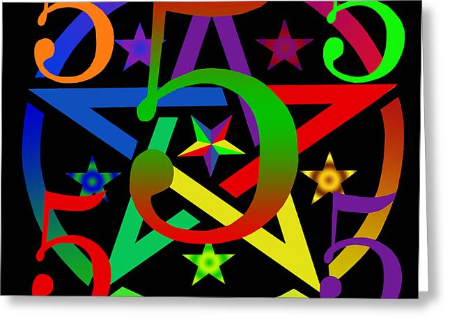 Fabled Greeting Cards - Penta Pentacle in Black Greeting Card by Eric Edelman