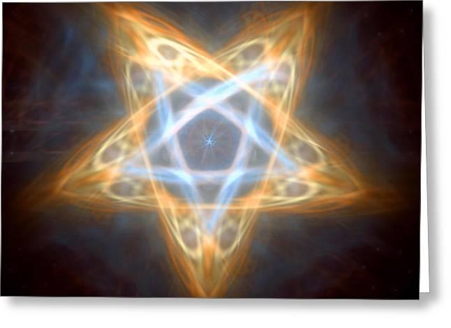Pentagram Art Greeting Cards - Pentagram Flame Greeting Card by Cornel Plavat