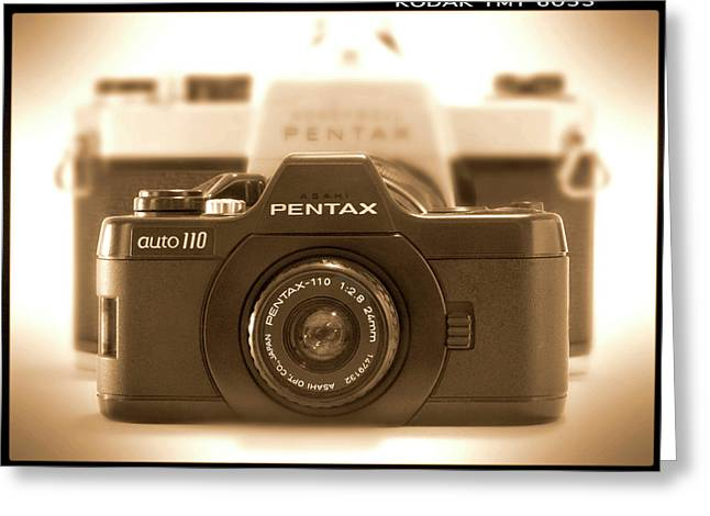 Vintage Camera Greeting Cards - Pentax 110 Auto Greeting Card by Mike McGlothlen