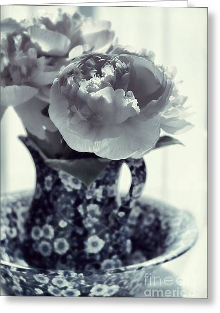Pitcher Greeting Cards - Peonies Greeting Card by HD Connelly