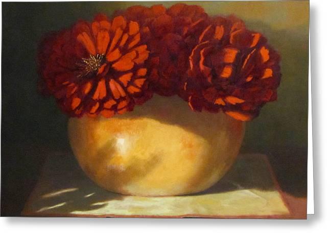 Flower Still Life Prints Greeting Cards - Peonies Greeting Card by Linda Jacobus