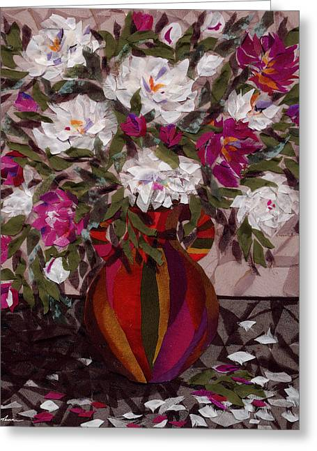 Flower Still Life Tapestries - Textiles Greeting Cards - Peonies Greeting Card by Marina Gershman