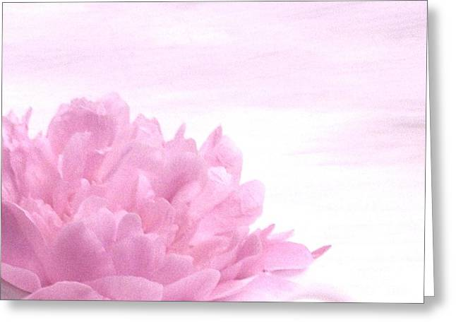 In The Corner Greeting Cards - Peony in a Corner Greeting Card by Marsha Heiken