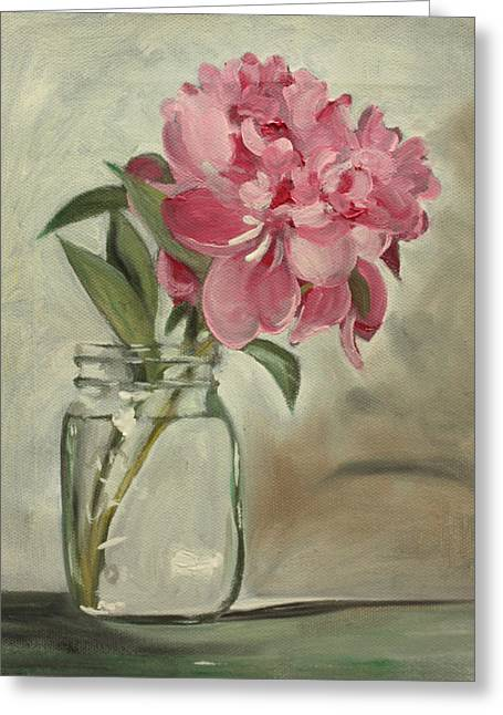 Floral Still Life Greeting Cards - Peony Greeting Card by Sarah Lynch