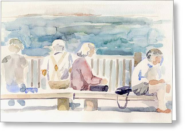 People on Benches Greeting Card by Linda Berkowitz