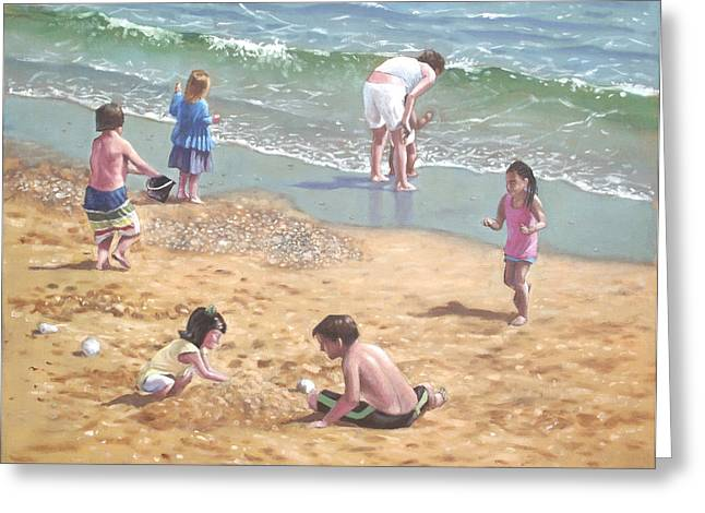 Sunny Beach Waves Greeting Cards - people on Bournemouth beach kids in sand Greeting Card by Martin Davey