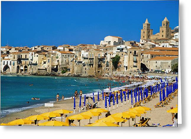 People On Cefalu Beach Greeting Card by Axiom Photographic