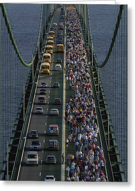 Jogging Greeting Cards - People Participating In The Annual Greeting Card by Phil Schermeister