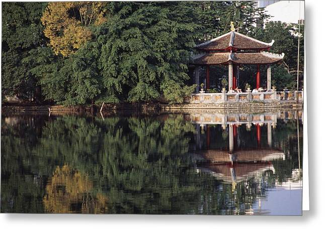 Serene People Greeting Cards - People Resting Under Pagoda On Hoan Greeting Card by Axiom Photographic