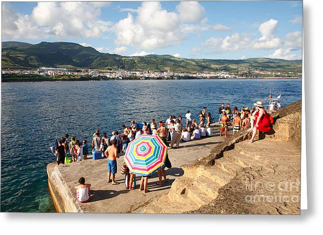 People Waiting At The Islet Greeting Card by Gaspar Avila