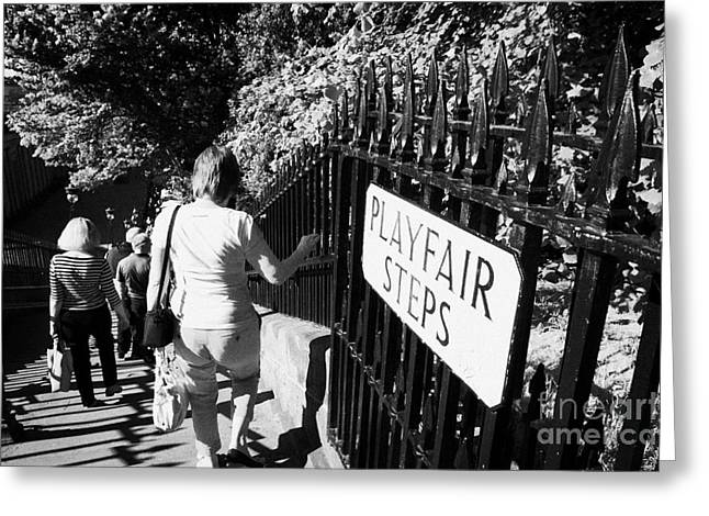 people walking down the playfair steps down into princes street gardens edinburgh scotland uk united Greeting Card by Joe Fox