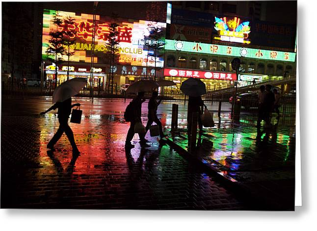 Urban And Suburban Ways Of Life Greeting Cards - People Walking In Shenzhen On A Rainy Greeting Card by Randy Olson