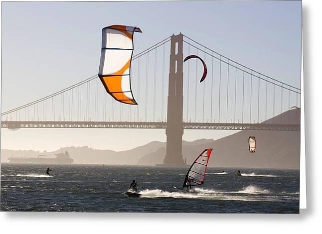 Kiteboarding Greeting Cards - People Wind Surfing And Kitebording Greeting Card by Skip Brown