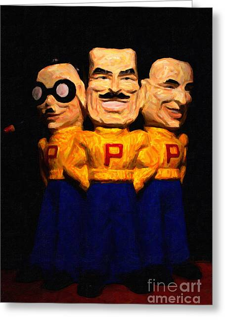 Car Mascot Digital Art Greeting Cards - Pep Boys - Manny Moe Jack - Painterly - 7D17428 Greeting Card by Wingsdomain Art and Photography