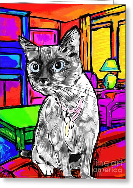 Red Point Siamese Greeting Cards - Pepper the Cat Greeting Card by Karen Smith