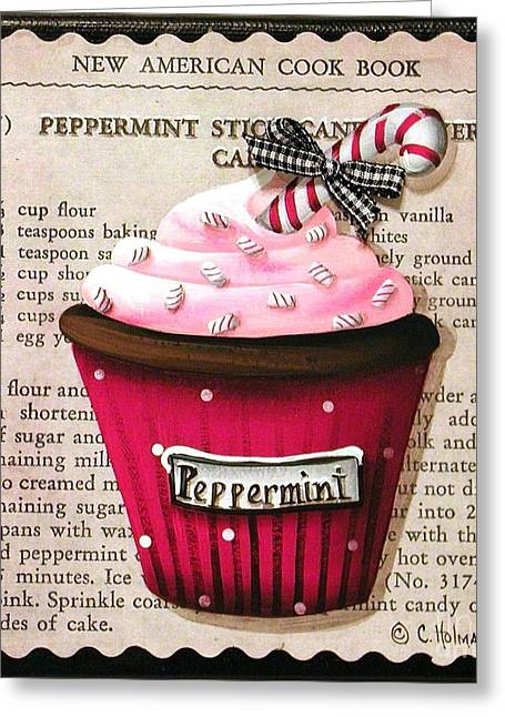 Catherine Greeting Cards - Peppermint Stick Christmas Cupcake Greeting Card by Catherine Holman