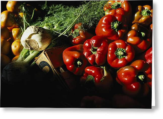 Food Industry And Production Greeting Cards - Peppers, Oranges And Fennel Fill Bins Greeting Card by Pablo Corral Vega