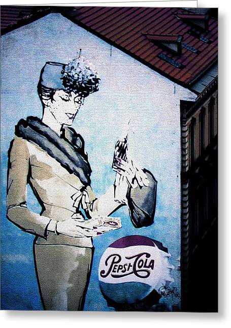 Drinks Greeting Cards - Pepsi is here - Pepsi Cola Ad in Prague CZ Greeting Card by Christine Till