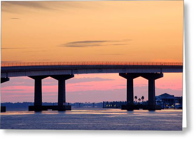 Perdido Bridge Sunrise Closeup Greeting Card by Michael Thomas