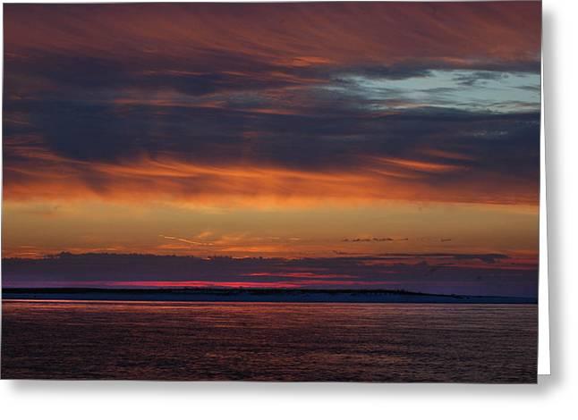 Crimson Tide Greeting Cards - Perdido Pass Red Sunrise Greeting Card by Michael Thomas