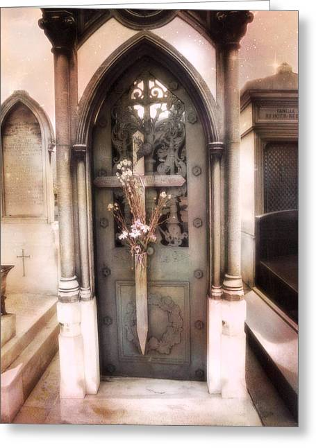 Cemeteries Of Paris Greeting Cards - Pere La Chaise Cemetery Ornate Mausoleum Greeting Card by Kathy Fornal
