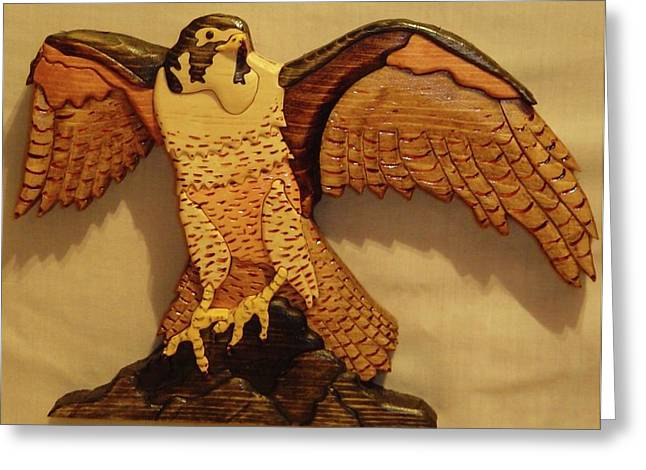 Intarsia Sculptures Greeting Cards - Peregrine Falcon Greeting Card by Russell Ellingsworth