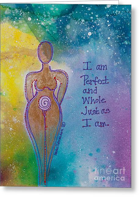 Empowerment Paintings Greeting Cards - Perfect and Whole Greeting Card by Ilisa  Millermoon