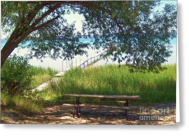 Willow Lake Mixed Media Greeting Cards - Perfect Picnic Spot Greeting Card by Desiree Paquette