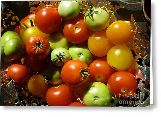 Shades Of Red Greeting Cards - Perfect Tiny Tomatoes Greeting Card by Carol Komassa